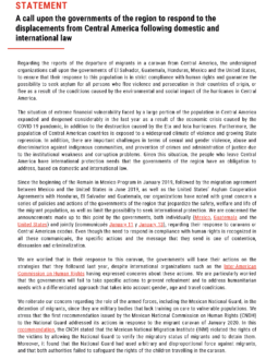 Call Upon Governments of the Region to Respond to the Displacements from Central America Following Domestic and International Law Cover Image