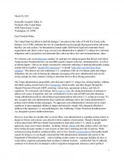 NGO Letter to President Joe Biden on Asylum Cover Image