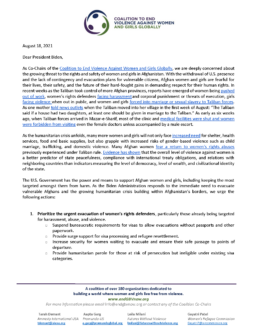 Coalition to End Violence Against Women and Girls Globally Co-Chair Letter on Women's Rights in Afghanistan
