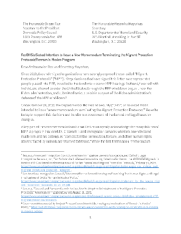 Coalition Letter Supporting US Department of Homeland Security's New Memorandum Ending Migrant Protection Protocols