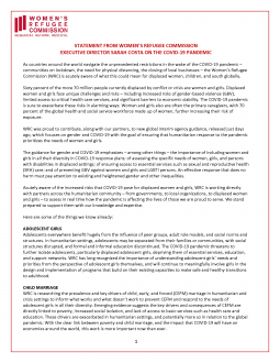 Women's Refugee Commission Statement on COVID-19
