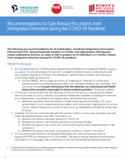 Recommendations for safe release procedures from immigration detention during the COVID-19 pandemic