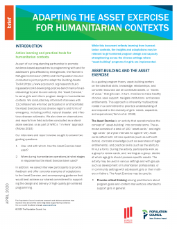 Adapting the Asset Exercise for Humanitarian Contexts Page 1