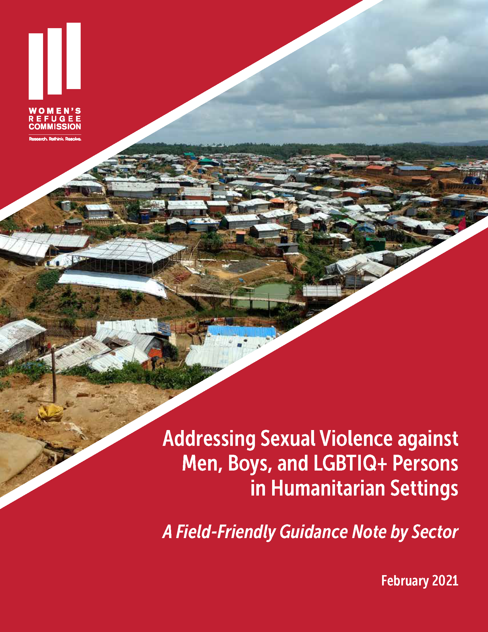 Addressing Sexual Violence against Men, Boys, and LGBTQI+ Persons in Humanitarian Settings Guidance Note Cover Image