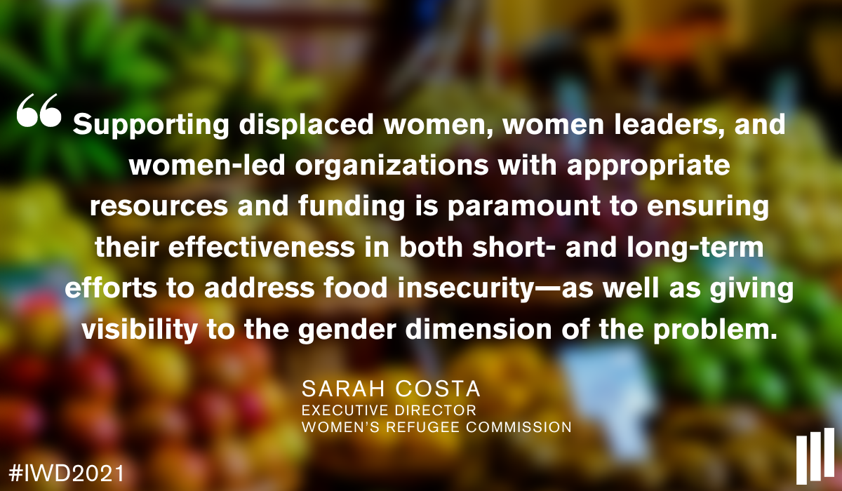 Quote from Sarah Costa on food insecurity and gender