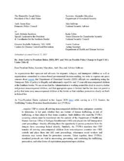 Joint Letter to President Biden, DHS, DPC and NSA on Possible Policy Change to Expel Unaccompanied Children Under Title 42