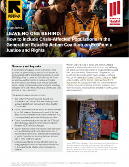 Leave No One Behind: How to Include Crisis-Affected Populations in the Generation Equality Action Coalition on Economic Justice and Rights