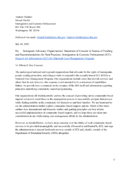 Immigrant Advocacy Organizations' Statement of Concern on Source of Funding and Recommendations for Best Practices, Immigration and Customs Enforcement (ICE)