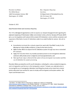 200+ Organizations Call on Biden Administration to Cancel New ICE Detention Contracts and Halt Expansion